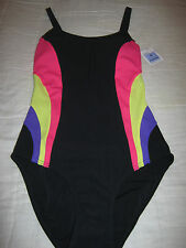 RRP£36 Marks and Spencer BLACK PINK SWIMMING COSTUME SUIT UK 8 TUMMY CONTROL