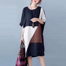 Women Dresses Mosaic Linen Cotton Casual Maxi Plus Gown Caftan Loose Fit Robe