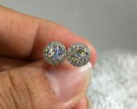 2Ct Round Brilliant Cut Diamond Halo Stud Women Art Earrings 14K White Gold Over