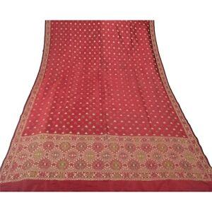Sanskriti Vintage Dupatta Long Stole Pure Silk Dark Red Hand Beaded Woven Shawl