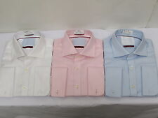 M&S SARTORIAL PURE COTTON Mens LUXURY SHIRT - Smart TWILL French Cuffs Non Iron