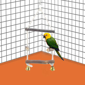 Parrot Rope Budgie Bell Swing Bird Cage Cockatiel Perch Chew Wood Stick Playing