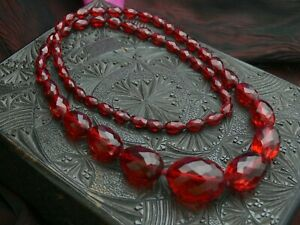 Long Vintage Antique Cherry Amber Tested Bakelite Faceted Big Bead Necklace 55g+