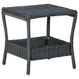 Poly Rattan Outdoor Dining Table Square Table Top Grey Garden Patio Furniture