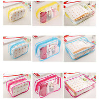 Pvc Clear Plastic Pouch Travel Bathing Toiletry Zipper Cosmetic Bag 3 Sizes KWCA