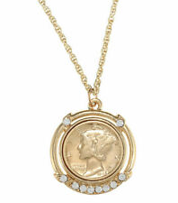 American Coin Treasure Gold Layered Mercury Dime Pendant with Necklace