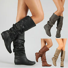 Womens Leather Slip On Flat Mid Calf Boots Matte Booties Knee Long Casual Shoes