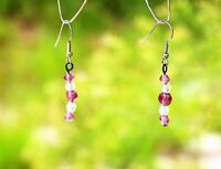 Silver tone Amethyst purple color and clear crystal bead dangle pierced EARRINGS