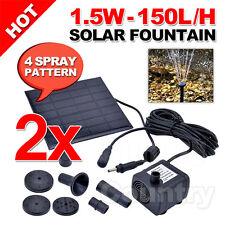 2x Set of Water Solar Pump Fountain Pond Pool Power Kit Submersible Garden