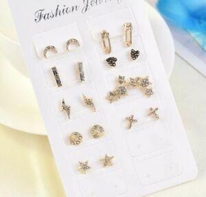 9Pcs Women Crystal Sstud Moon Star Cross Heart Earrings Set