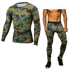 Mens Workout Compression Sportswear Apparel Base Layers Set Long Pants T-shirts