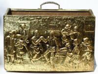 Brass Magazine Rack Wood Box Made in England Cottage Decor Mid Century