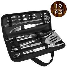 19 tlg BBQ Grill Set aus Edelstahl Zange Zubehör Grillbesteck Steak Messer Gabel