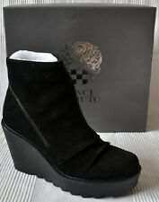 NEW Vince Camuto Dasan Black Suede Leather Wedge Heel Ankle Boots Bootie 6 / 39