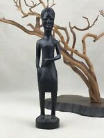 African Woman Holding Stomach Vintage Hand Carved Wooden Figurine Kenya