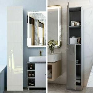 High Gloss Tall Bathroom Cabinet White Grey Storage Furniture Unit Cupboard Unit