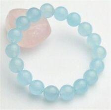 Natural 10mm Light Blue Aquamarine Round Gemstone Beads Bangle Bracelet 7.5''