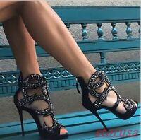 Womens Glitter Rhinestone Stiletto High Heels Peep Toe Hollow Gladiator Sandals