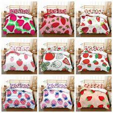 3D Pink Strawberry Girls Bedding Set Duvet Cover Comforter Cover Pillowcases