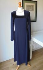 Vintage Marion Donaldson Velvet Crepe Long Dress 10 UK/Black and dark navy Long