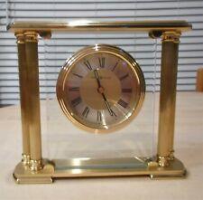 HOWARD MILLER # 613-627 ATHENS BRUSHED SOLID BRASS TABLE MANTLE Battery Clock