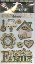 FAMILY Welcome Home House Love Lamp Clock Lock Key Safe Warm Glitter Stickers