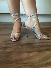 Moda In Pelle Silver Tie Up High Heels Sandals Shoes Size 5