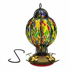 HUMMINGBIRD FEEDER with Perch --- Hand-Blown Glass Feeders | Tiffany Treat | (by