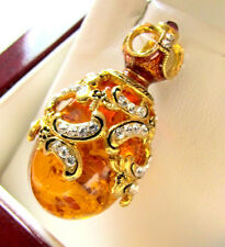SALE ! SUPERB RUSSIAN EGG PENDANT STERLING SILVER 925 with GENUINE AMBER