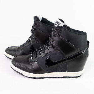 Nike Dunk Sky Hi High Hidden Wedge Heel Essential Black White Womens Size 7.5