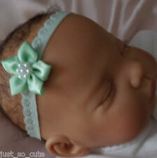 Baby Headband mint lace band / mint green flower all sizes