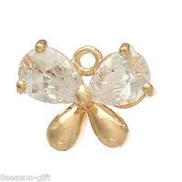 2PCs Copper Charm Pendants Butterfly 14K Gold Plated Pave Zircon