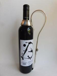 Victorian English Plated Silver Wine Bottle Holder Handle Thomas Bond St 1870s