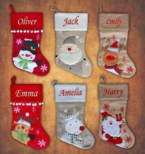 Personalised Kids Luxury Embroidered Xmas Stocking Sack Santa  Christmas 2017