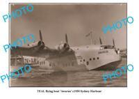 OLD 6 x 4 PHOTO TEAL TASMAN EMPIRE AIRWAYS FLYING BOAT c1930 SYDNEY