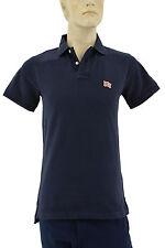 $195 BURBERRY Brit Blue Black 100% Cotton Men's Polo Shirt S
