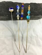 Lot of 4 Vintage Hat Pins Layered Glass Beads Blue Amber Green Gold Crystal