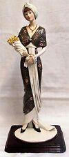 Large 1989 Capodimonte A Belcari Art Deco Lady With Lillies Figurine #814L