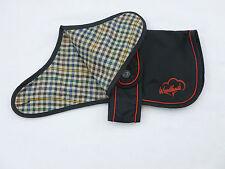 "NEW 12"" 30cm BLACK Waterproof Nylon Dog Coat Rain Mac Checked Cotton Lining"