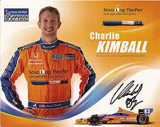 2012 CHARLIE KIMBALL signed INDIANAPOLIS 500 PHOTO CARD POSTCARD INDY CAR HONDA