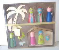 Hallmark 11 pc Nativity Set~Omura Collection~ Palm Tree ~ Manger~9 figurines