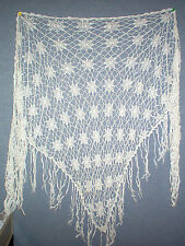 Ladies Shawl /Hip Wrap hand crotchet cotton white Free Post