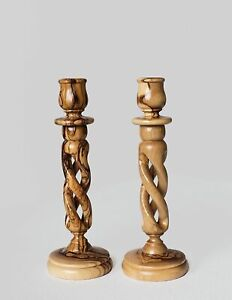 """6"""" Pair of Olive Wood Hollow Twist Candle Holders Handcarved in the Holy Land"""