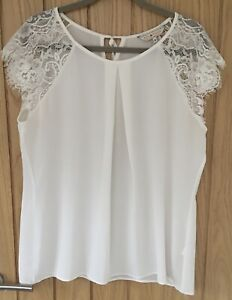 DOROTHY PERKINS Cream Crepe with White Lace Short Sleeves & Tie Blouse Top UK 18
