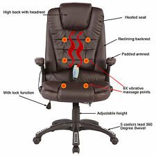 Brown Ergonomic Heated Executive Massage Chair Office Chair Vibrating