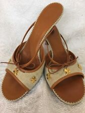 Chanel Kitten Heel Sandal Tan Fabric Gold Clovers Leather Bow Size 39