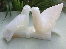 Onyx Dove White Cream Dove Gemstone Birds On Branch Animal Figure Collectable.