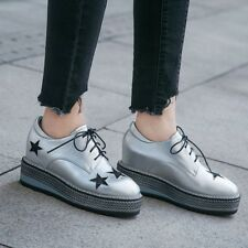 Star Print Lace Up Platform Combat Women's Outdoor Work Dress Casual Ankle Boots