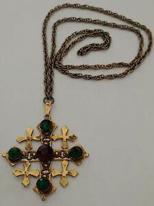 WEISS Rhinestones Cross Necklace Gold Tone Vintage Signed