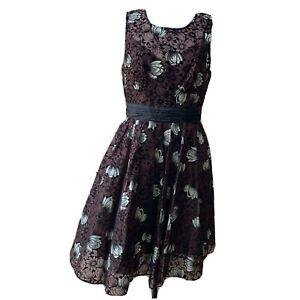 Anthropologie Tracy Reese Chrysanthemum Tea Dress Cocktail Sleeveless Short 10